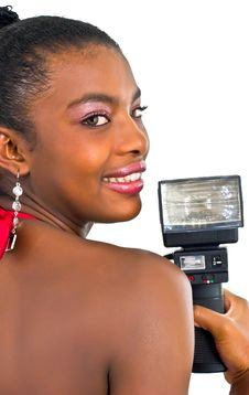Free African Lady With A Black Flash Royalty Free Stock Photos - 4707348