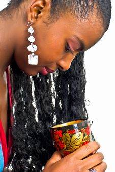 Young Lady With A Wooden Goblet Royalty Free Stock Images