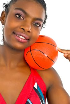 Free Lady With A Small Red Ball Royalty Free Stock Image - 4707366
