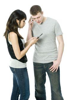 Couple On The Phone Stock Photos