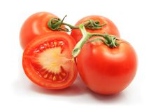 Free Fresh Tomatoes With Cut On White Background Royalty Free Stock Photos - 4709688