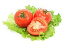 Free Fresh Tomatoes With Cut On Sheet Of Salad Stock Photography - 4709742