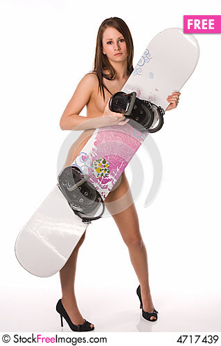 Free Nude Woman Snowboard Diagonal Royalty Free Stock Images - 4717439