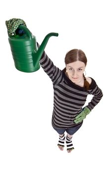 Free Girl With Watering Can Royalty Free Stock Photo - 4712135