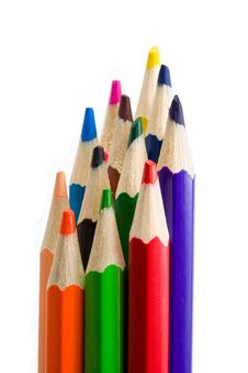 Vertical Bright Color Pencils Royalty Free Stock Image