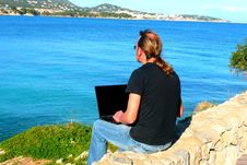 Free Laptop Computer With Sea View Stock Photography - 4714092