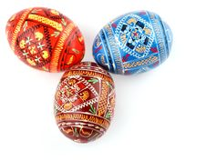 Three Russian Tradition Easter Eggs Side By Side O Stock Image