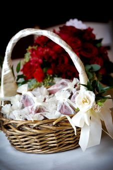 Free Flower Basket With Rose Petals In Bags Royalty Free Stock Photography - 4715257
