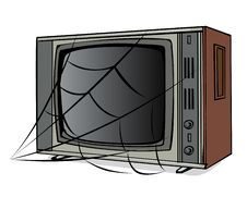 Free The Old TV With A Web Royalty Free Stock Image - 4715286