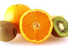 Close Up Of Oranges And Kiwi Fruits Stock Image