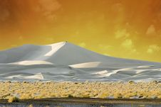 Sand Dunes Lit By Golden Sunset Royalty Free Stock Photo