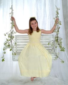 Smiling Girl On Swing Stock Photography