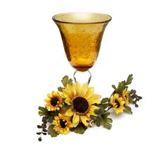 Free Big Yellow Wineglass With Artificial Sunflowers Royalty Free Stock Image - 4716576