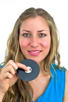 Free Young Woman With A Floppy Disk Stock Images - 4717634