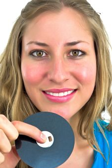 Free Young Woman With A Floppy Disk Stock Photo - 4717640