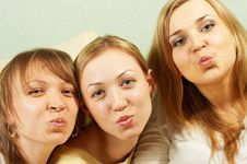 Free Air Kiss From Three Attractive Girls Royalty Free Stock Photo - 4718665