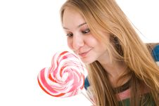 Free The Girl With A Sugar Candy Isolated On A White Stock Photos - 4718953