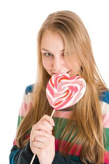 Free The Girl With A Sugar Candy Isolated On A White Stock Image - 4718981