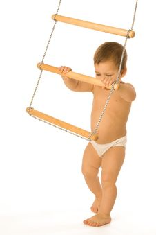 Boy With A Rope-ladder Royalty Free Stock Photography