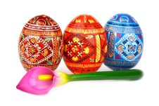 Three Russian Tradition Easter Eggs Abreast Royalty Free Stock Photo
