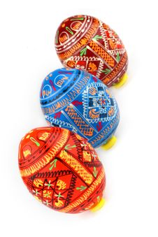 Three Russian Tradition Easter Eggs Diagonally Stock Images