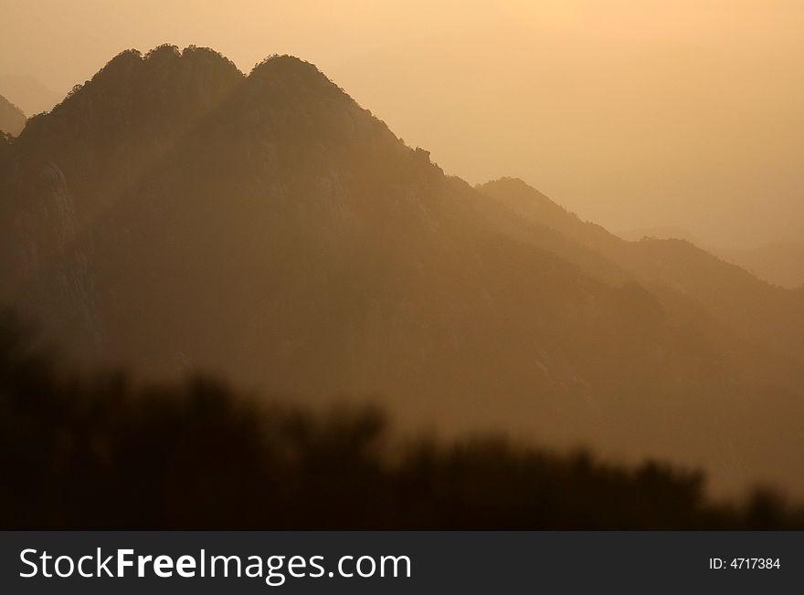 Sunrise on Huangshan mountain