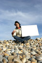 Free Young Man Holding White Card Royalty Free Stock Image - 4726116