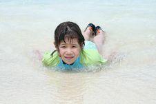Free Girl Plays In Ocean Stock Image - 4720011
