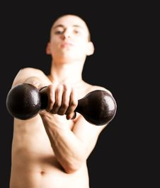 Free Young Man With Dumbbell Stock Photography - 4720342