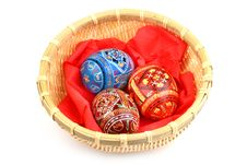 Three Russian Easter Eggs In Basket Stock Images