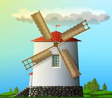 Free Windmill Landscape Royalty Free Stock Photography - 4720497