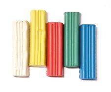 Free Five Plasticine Blocks On White Background Royalty Free Stock Image - 4721046
