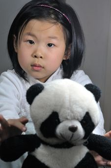 Free Girl With Panda Toys Stock Photo - 4721230