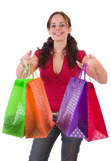Free Young Woman Holding A Few Colorful Shopping Bags Stock Photography - 4721892