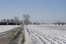 Country Road On A Wintry Day Stock Image