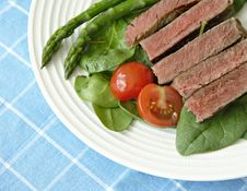Free Steak With Tomatoes, And Asparagus Stock Images - 4722834