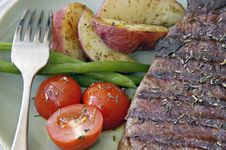 Steak With Potatoes, Tomatoes, And Beans