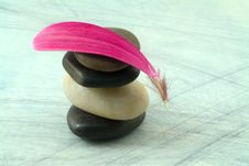 Free Balancing Stones And Pink Petal Stock Photos - 4724433
