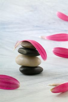 Free Balancing Stones And Pink Petals Stock Images - 4724514