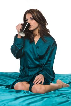 Free Pretty Woman Robe Drink Coffee Stock Photography - 4726532