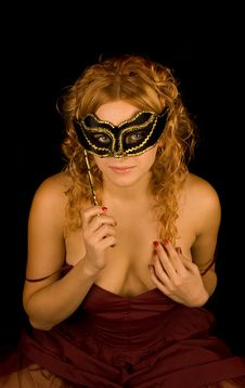 Free Girl With Mask Stock Image - 4727531