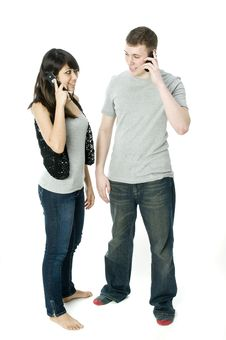 Couple On The Phone Royalty Free Stock Photography
