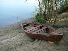 Old Wooden Boat On River Coast Stock Images
