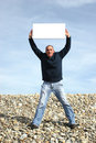 Free Young Man Holding White Card Royalty Free Stock Photography - 4739867
