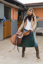 Free Woman Working In An Stable Stock Images - 4739974