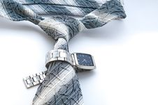 Free Blue Tie And A Watch Stock Photo - 4733200