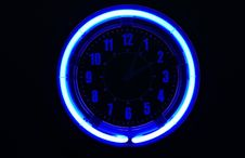 Free Blue Neon Clock Royalty Free Stock Images - 4733899