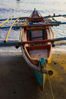Banca Boat At Sunset On Beach Stock Images