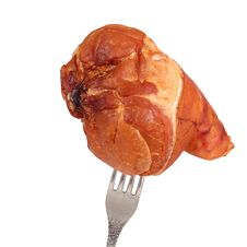 Ham On Fork Royalty Free Stock Photo