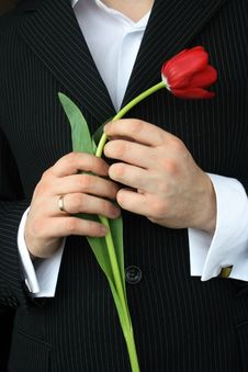 Free Man Holding Flowers Royalty Free Stock Images - 4737819